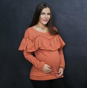 Свитшот для беременных и кормящих Love & Carry LCM2303 с рюшами терракотовый