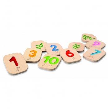 Деревянный обучающий набор PlanToys® Числа шрифтом Брайля 1 – 10