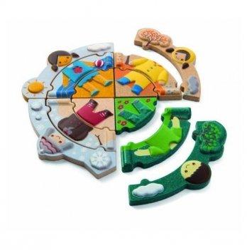 Деревянная развивающая игрушка-пазл PlanToys® Одевайся по погоде