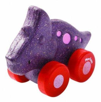 Деревянная игрушка PlanToys® Трицератопс на колёсиках