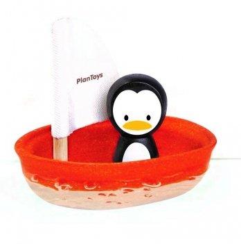 Игрушка для ванной PlanToys® Пингвин в парусной лодке