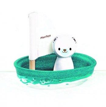 Игрушка для ванной PlanToys® Белый медведь в парусной лодке