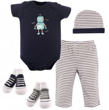 Подарочный комплект для мальчика Hudson Baby, 5 предметов, Робот