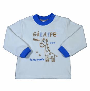 Джемпер велюровый Мій Світ Жираф, белый с голубым