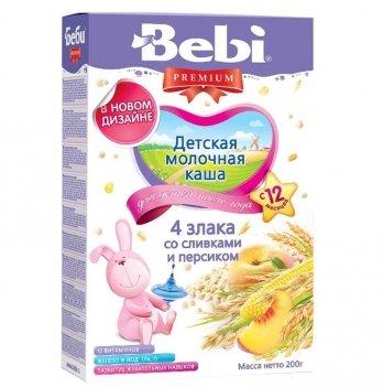 Каша 4 злака Kolinska Bebi PREMIUM, молочная, со сливками и персиком 200 г