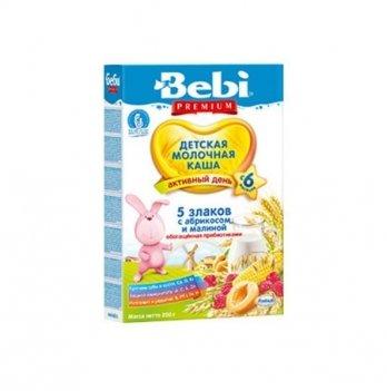 Каша 5 злаков Kolinska Bebi PREMIUM, молочная,с малиной, абрикосом, пребиотиками 200 г