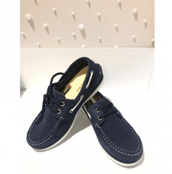 Мокасины для мальчика Naturino, натуральная замша, на шнуровке, темно-синие