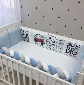 Бортики в кроватку Маленькая Соня Art Design Машинки Белый/Голубой 0739247