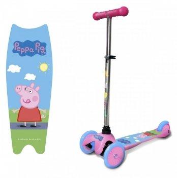 Самокат-скутер лицензионный Peppa Pig, трехколесный, розовый с голубым