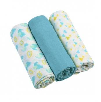 Пеленки муслиновые BabyOno голубые, 3 шт.