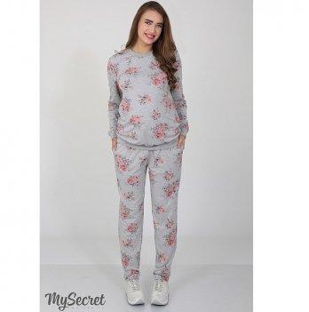 Брюки спортивные для беременных MySecret Irhen rose SP-37.021 серый с принтом розы