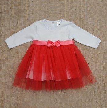 Платье Бетис Нежность интерлок/фатин Красный 27075240 1,5-3 года