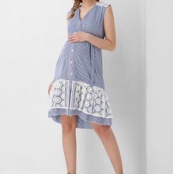 Платье для беременных и кормящих мам Dianora голубое с кружевом 1954 1034