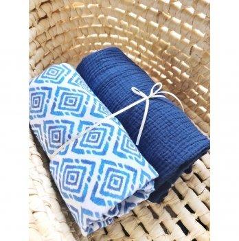 Муслиновая пеленка Embrace 2 шт, синий/молочный