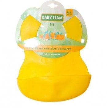 Нагрудник резиновый Baby Team 6500 желтый