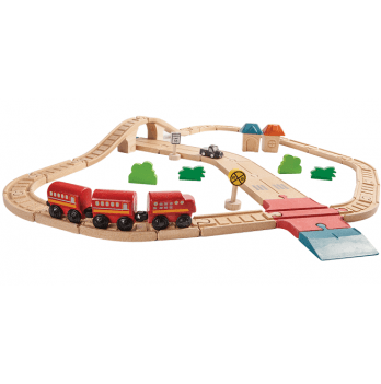 Деревянный игровой набор PlanToys® Железная дорога и автомобильная дорога