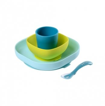 Набор силиконовой посуды Beaba 4 предмета синий