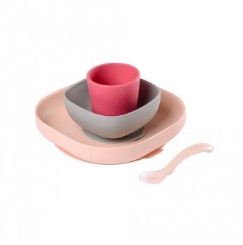 Набор силиконовой посуды Beaba 4 предмета розовый