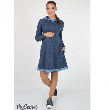 Платье трикотажное  для беременных и кормящих мам MySecret Lein DR-17.031 джинс