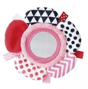 Игрушка плюшевая на руку с зеркальцем Canpol babies Zig Zag, 0+, розовая