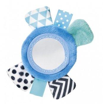 Игрушка плюшевая на руку с зеркальцем Canpol babies Zig Zag, 0+, синяя