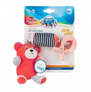 Игрушка плюшевая с колокольчиком Canpol babies Bears, 0+, коралловая