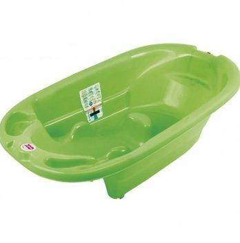 Ванна детская Okbaby Onda, с термодатчиком и анатомической горкой, зелёная