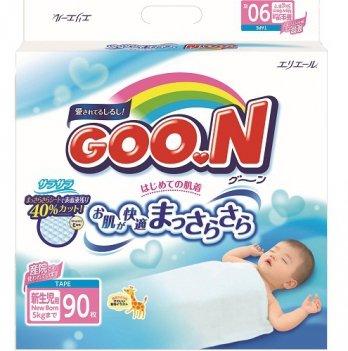 Подгузники GOO.N для новорожденных до 5 кг, размер SS, на липучках, унисекс,  90 шт
