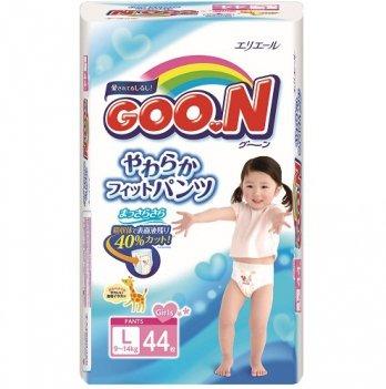 Трусики-подгузники GOO.N для девочек 9-14 кг, размер L, 44 шт