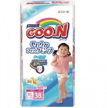 Трусики-подгузники GOO.N для девочек 12-20 кг, размер Big (XL), 38 шт