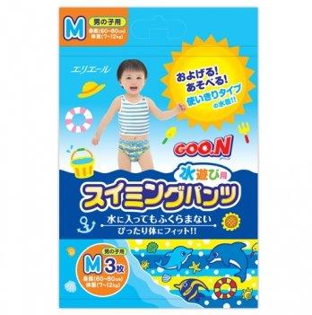 Трусики-подгузники для плавания Goo.N для мальчиков 7-12 кг, ростом 60-80 см, размер M, 3 шт