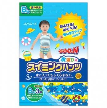 Трусики-подгузники для плавания Goo.N для мальчиков от 12 кг, ростом 80-100 см, размер Big (XL),3 шт