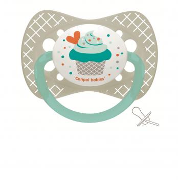 Пустышка силиконовая симметричная Canpol babies Cupcake 0-6 мес Серый 23/282