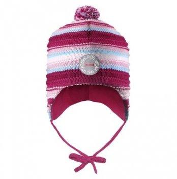 Шапка-бини для девочки Reima Kumpu, фуксия/светло-розовая