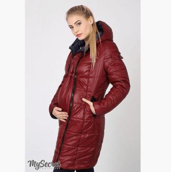 Зимнее двустороннее пальто для беременных, MySecret, бордо/темно-синий
