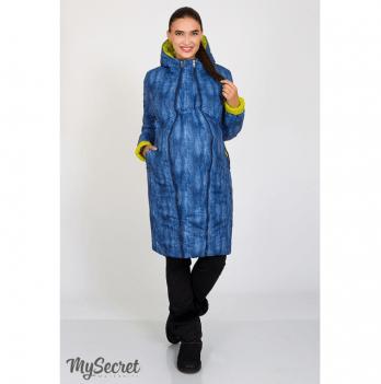 Зимнее двустороннее пальто для беременных, MySecret, салатовый/принт синий джинс