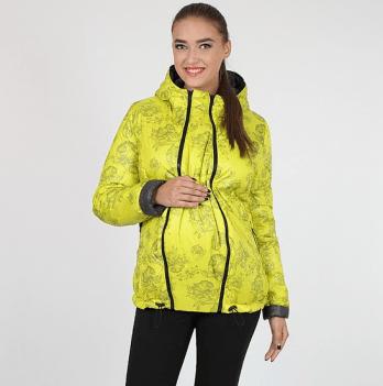 Короткая демисезонная двусторонняя куртка для беременных, MySecret, графит/цветы на салатовом