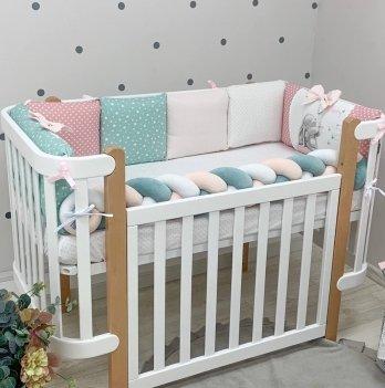 Бортики в кроватку Маленькая Соня Akvarel Зайка с бабочкой Розовый/Мятный 0762238