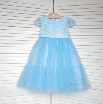 Платье-волан Flavien с фатиновой юбкой, голубое
