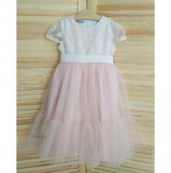 Платье-волан Flavien с фатиновой юбкой, пыльная роза