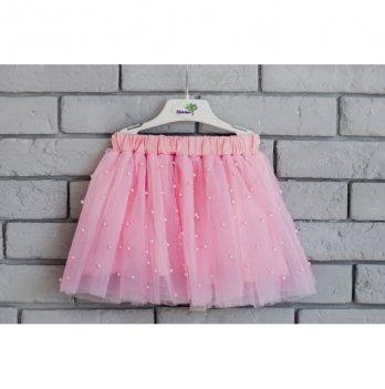 Юбка для девочки Flavien фатиновая с бусами, розовая