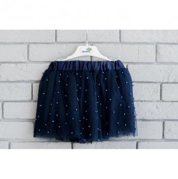 Юбка для девочки Flavien фатиновая с бусами, синяя