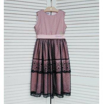 Платье Flavien розовое с черным гипюром
