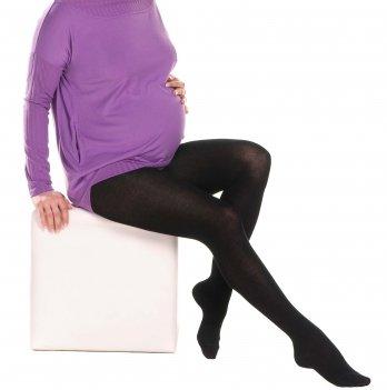 Колготки MammaLux для беременных теплые хлопковые 360 den с пяткой черные, 704