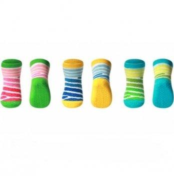 Носочки хлопковые противоскользящие для ползания BabyOno, 3 шт. в упаковке, 571/02
