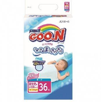 Подгузники GOO.N для маловесных новорожденных 1,8-3 кг, р. SSS, на липучках, унисекс,36 шт