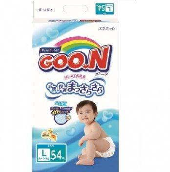 Подгузники GOO.N для детей 9-14 кг, размер L, на липучках, унисекс, 54 шт