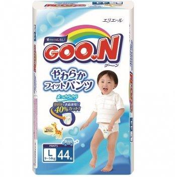 Трусики-подгузники GOO.N для мальчиков 9-14 кг размер L, 44 шт
