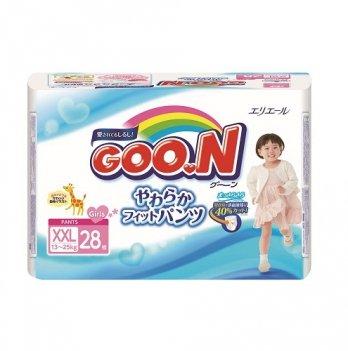 Трусики-подгузники GOO.N для девочек 13-25 кг, размер BigBig (XXL), 28 шт