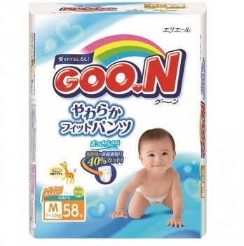 Трусики-подгузники GOO.N для детей 7-12 кг размер M, унисекс, 58 шт
